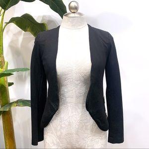 LoveTree Fitted Black zipper Detail Jacket